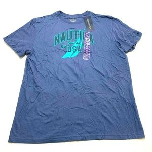 NWT NAUTICA Blue Indigo Sailing Graphic Shirt